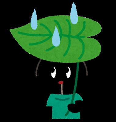 葉っぱにを傘にしている犬のイラスト